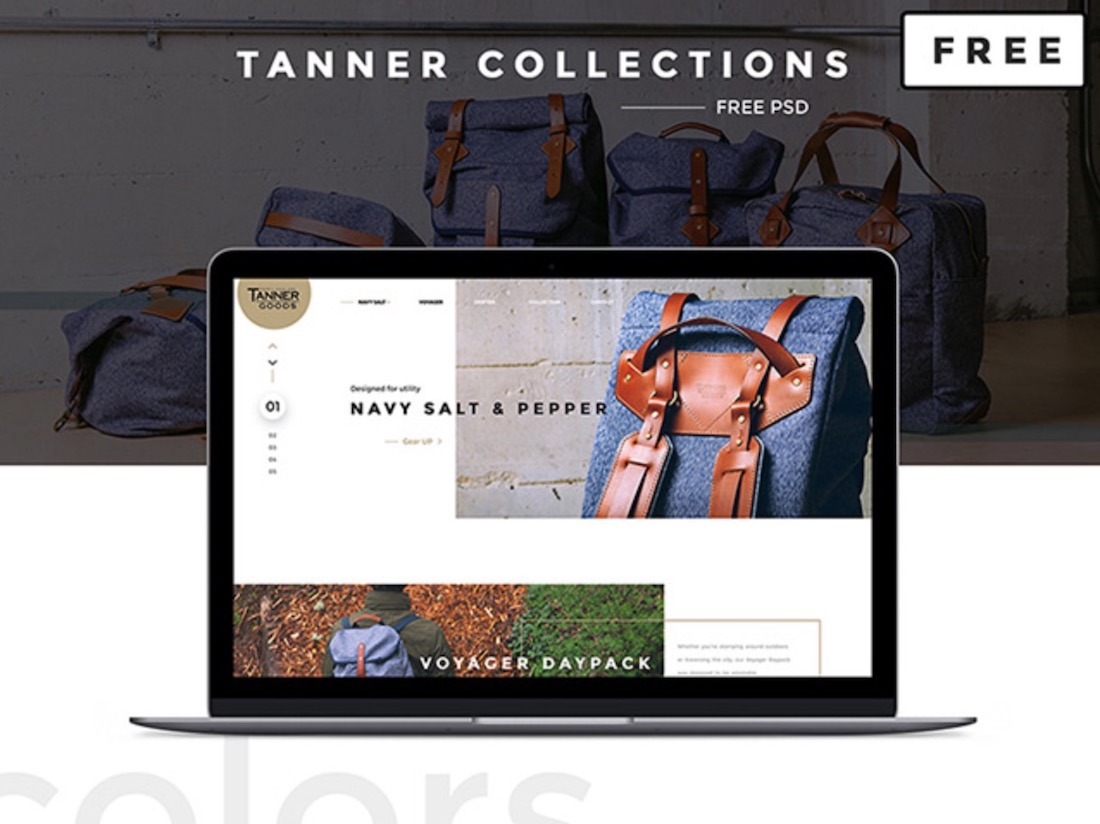 tanner collections free psd ecommerce template