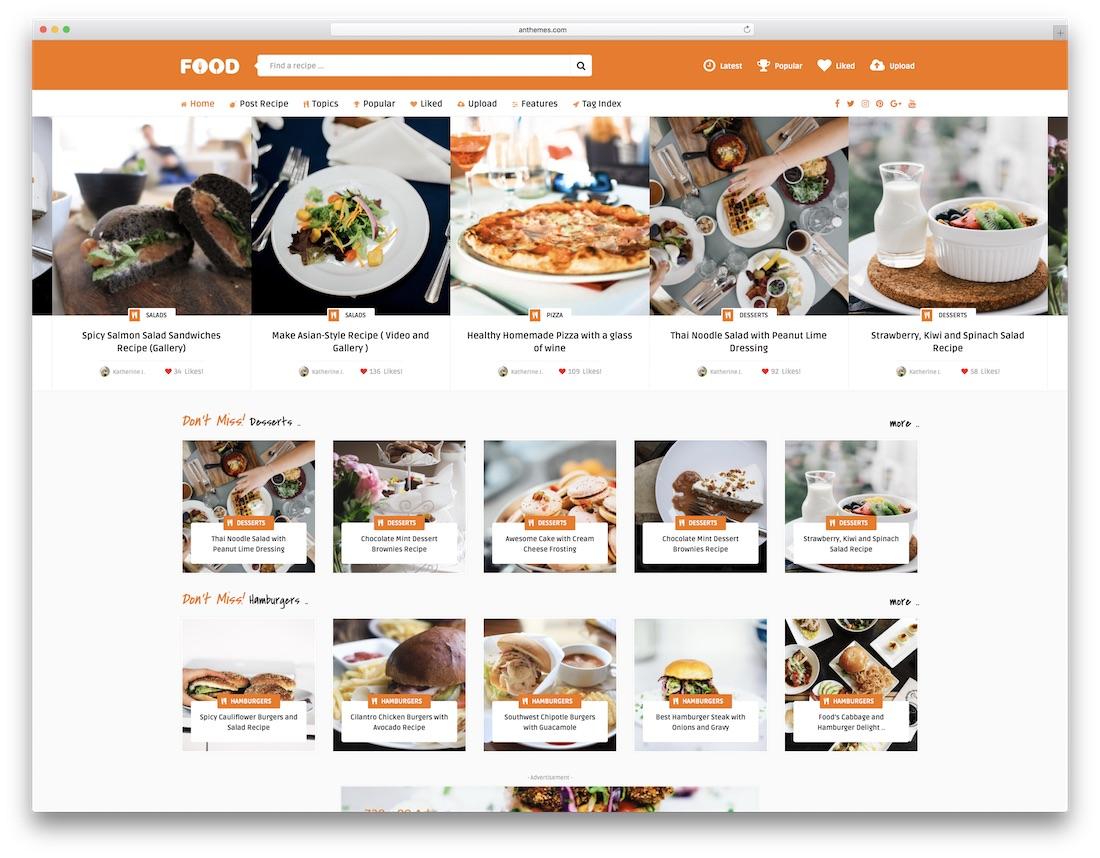 tasty food recipes wordpress theme