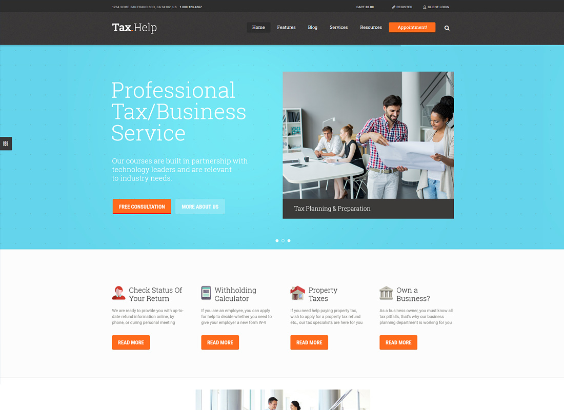Tax Help | Finance & Accounting WordPress Theme