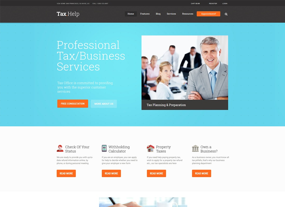TaxHelp | Finance & Accounting Site Template