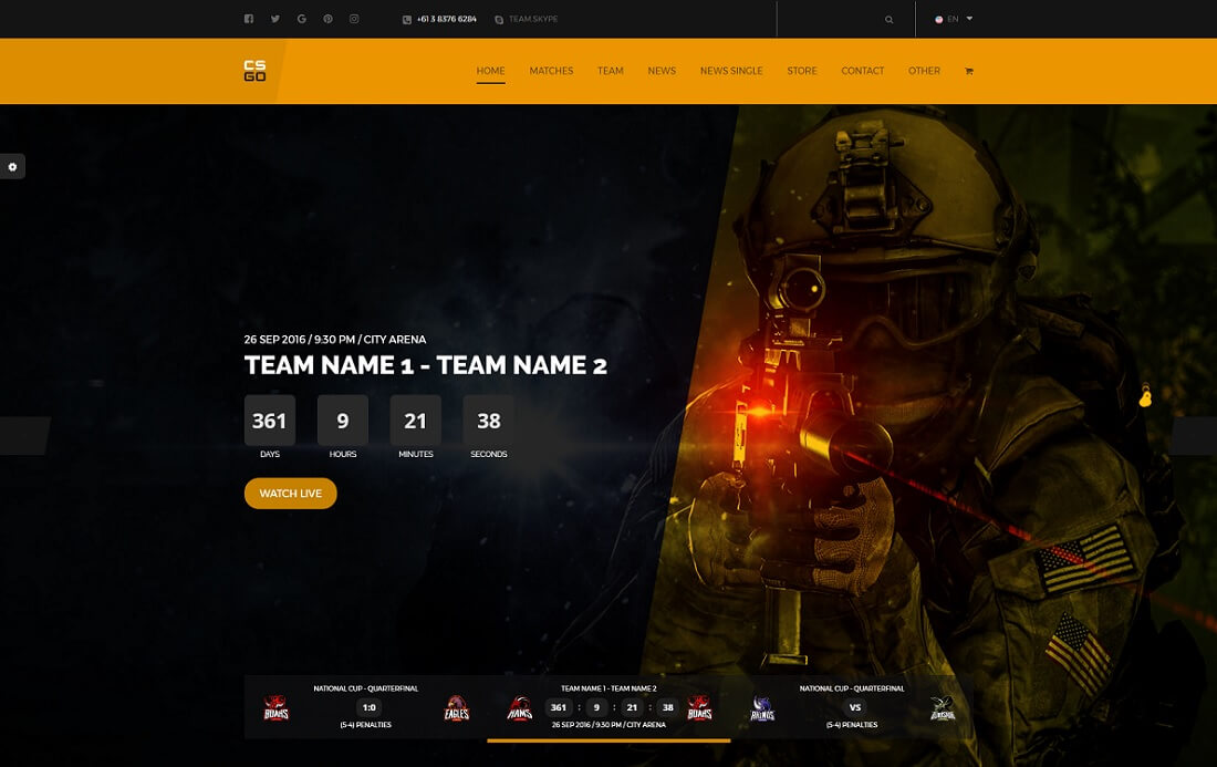 team gaming HTML website template