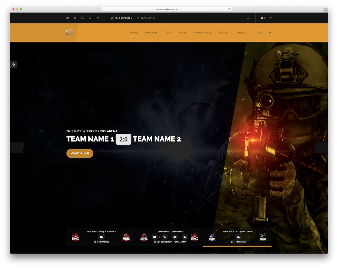 team gaming website template