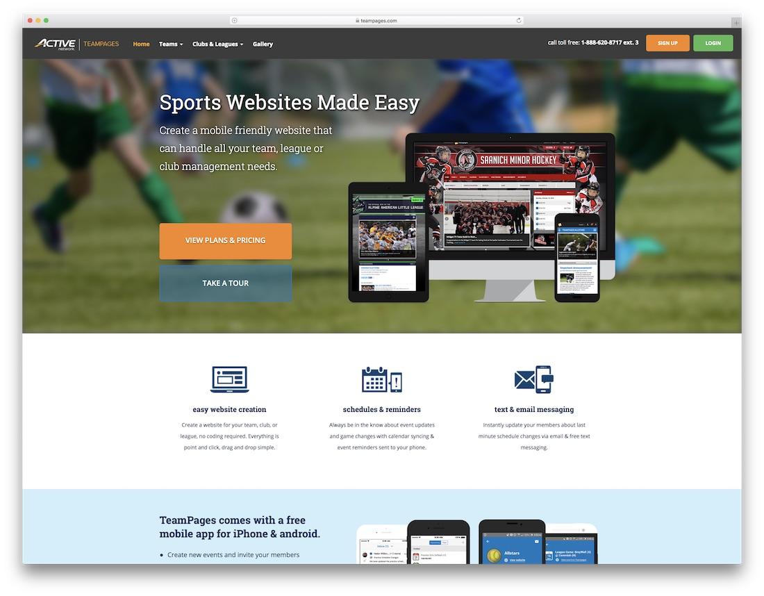 teampages sports website builder