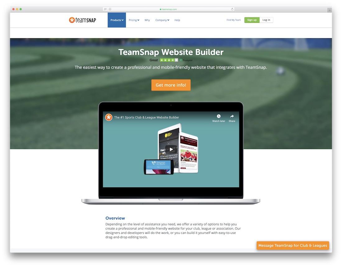 teamsnap sports website builder
