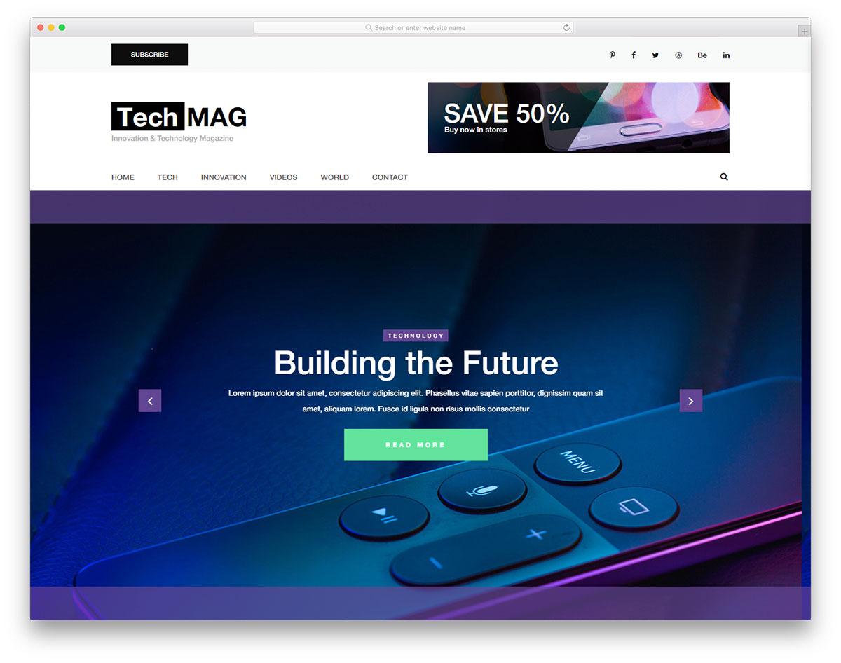 Скачать бесплатно html шаблон TechMag