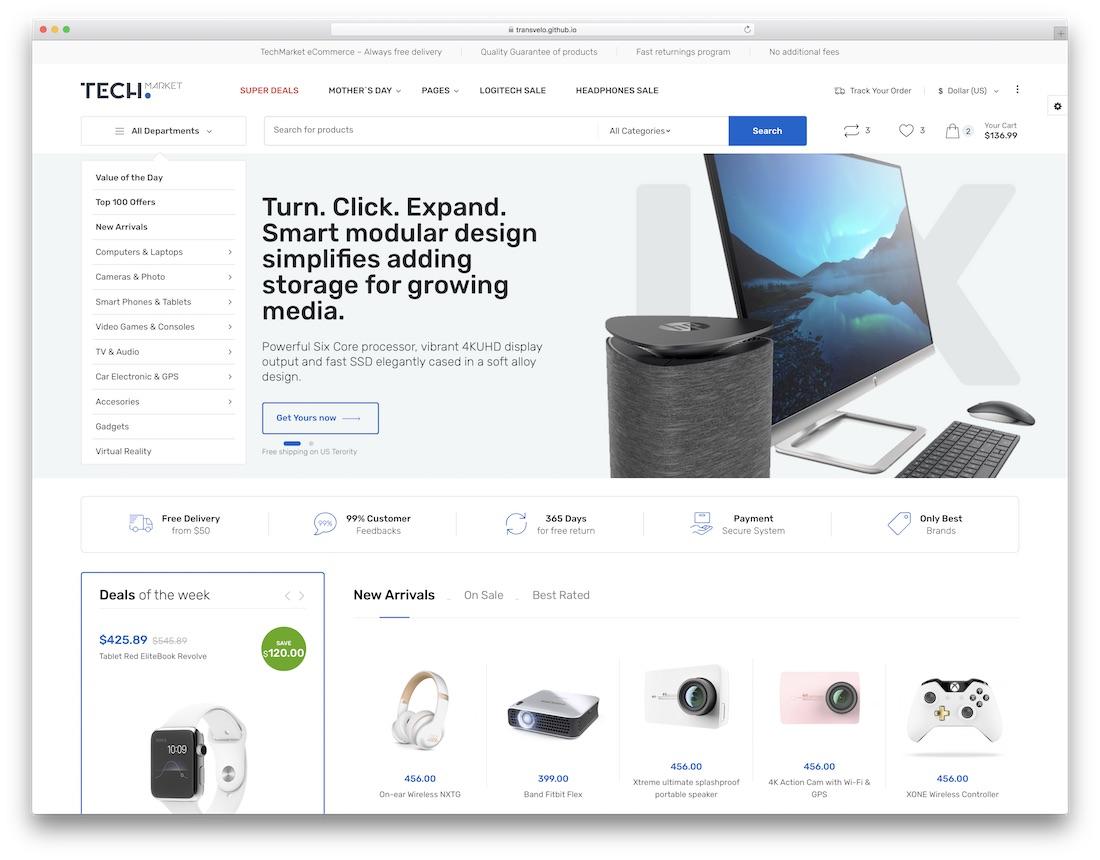 techmarket fashion website template