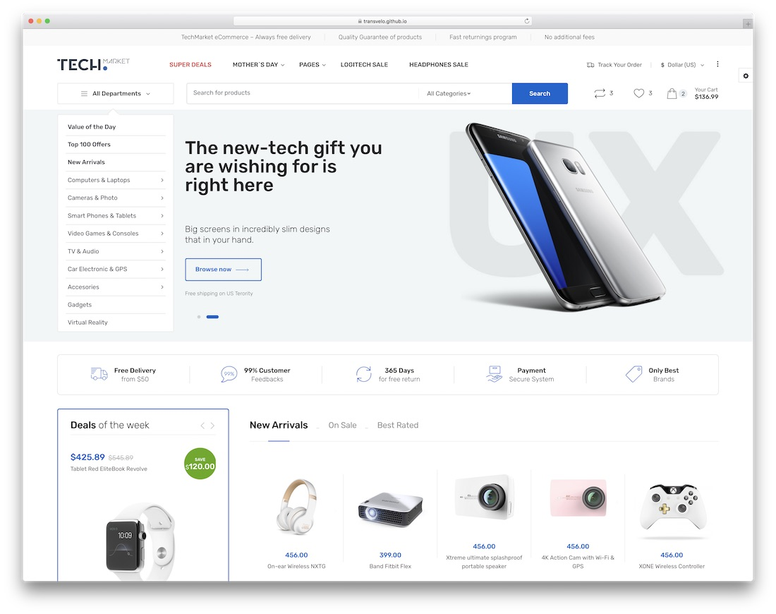 techmarket ecommerce website template