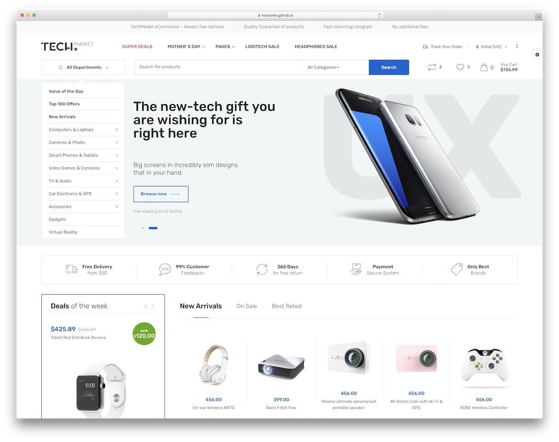 techmarket ecommerce website template
