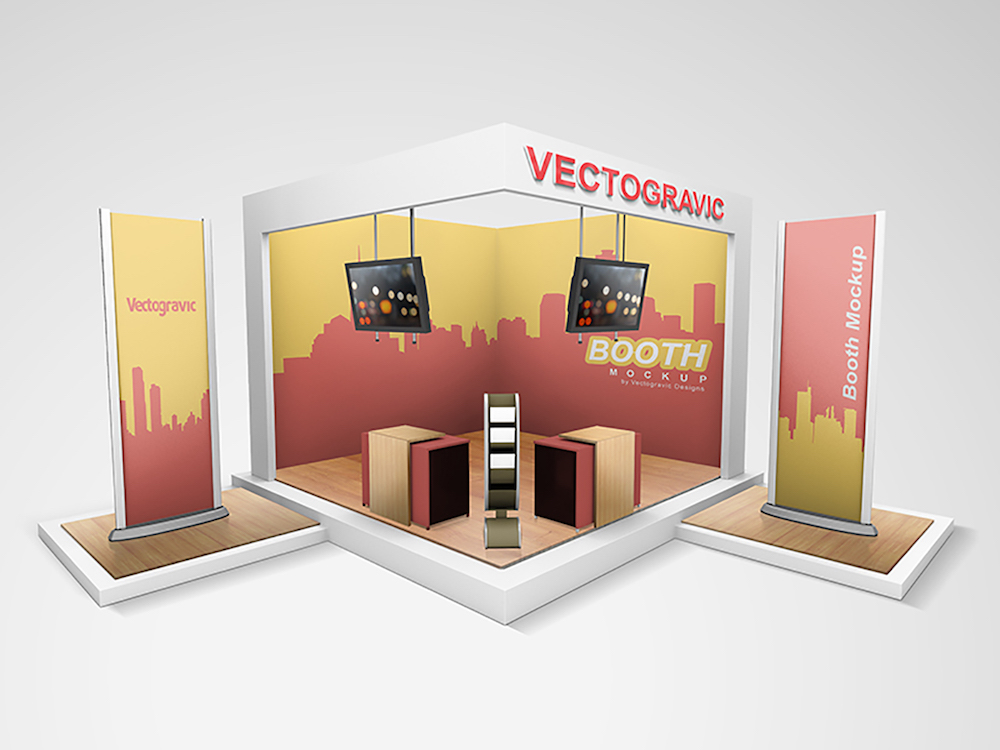 technical display booth mockup