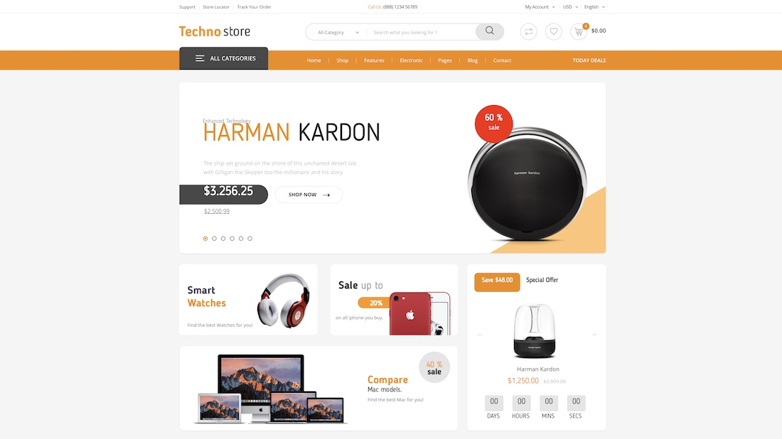 techno store ecommerce website template