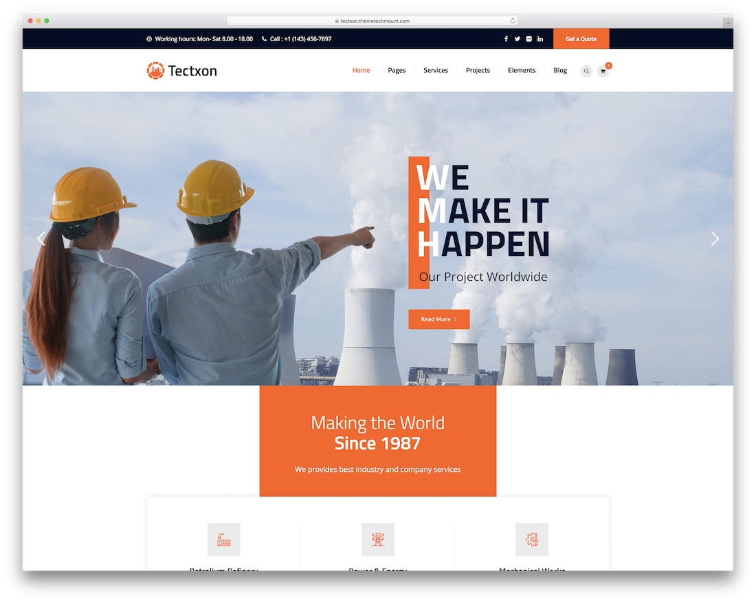 tectxo industrial wordpress theme