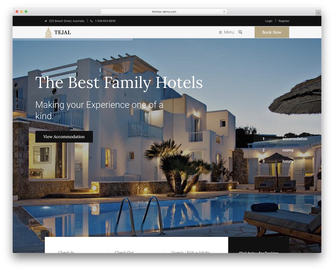 teja hotel wordpress theme incredible design