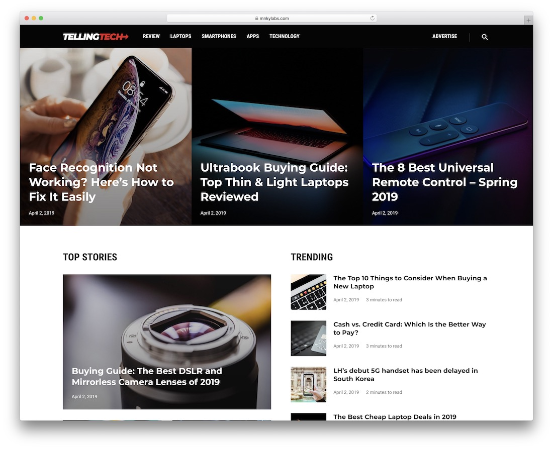 telling technology news wordpress theme
