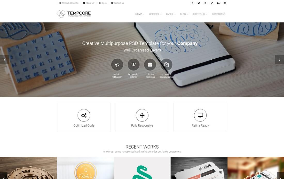 tempcore bootstrap business website template