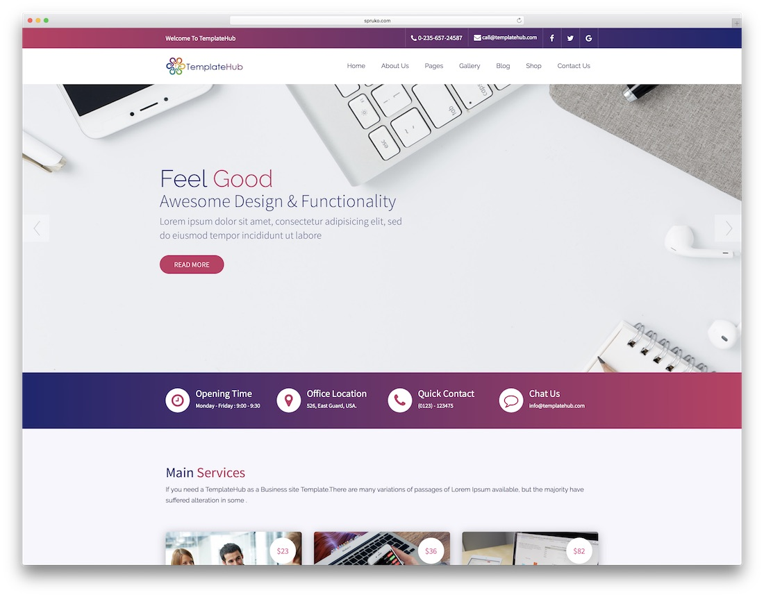 templatehub professional website template
