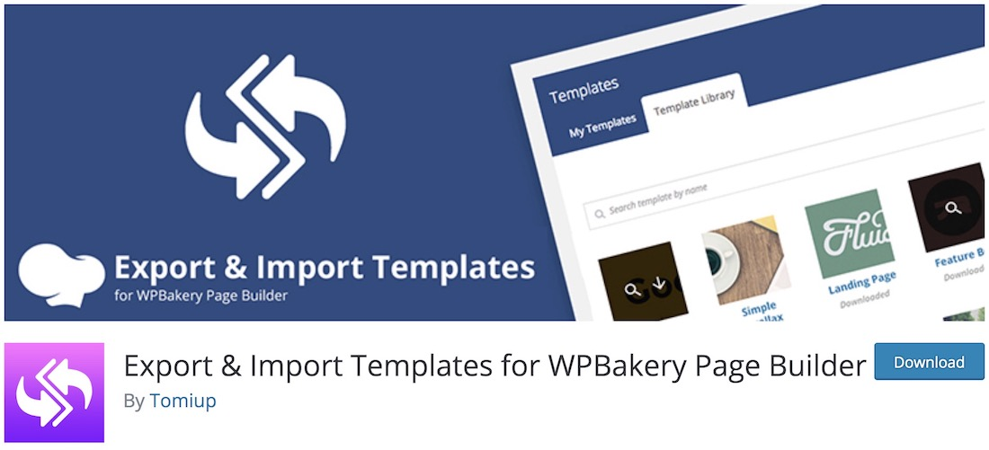 templates import export wpbakery extension