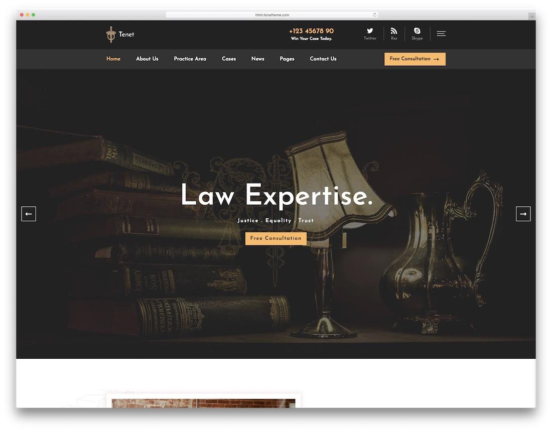 tenet lawyer website template