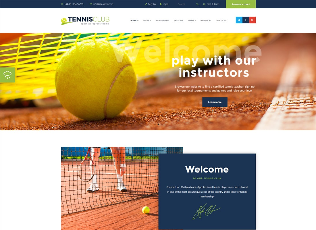 Tennis Club | Sports & Events Site Template