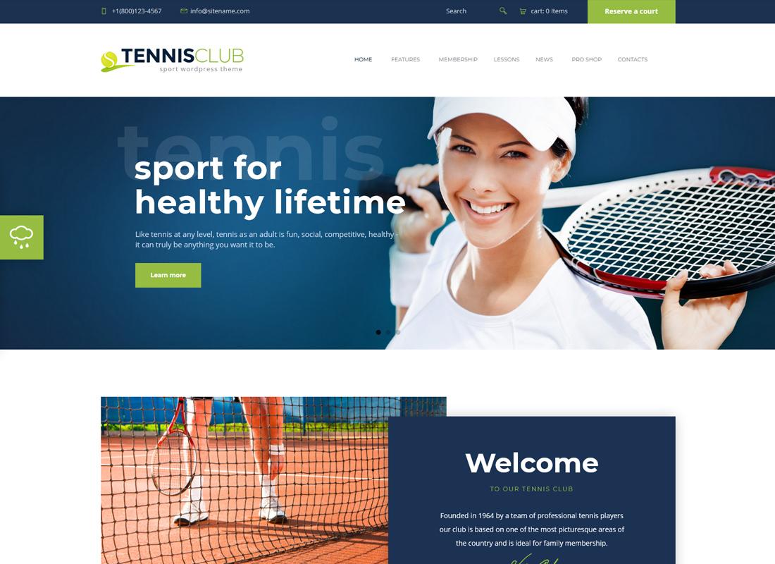 Tennis, Sport Club & Events - WordPress Theme