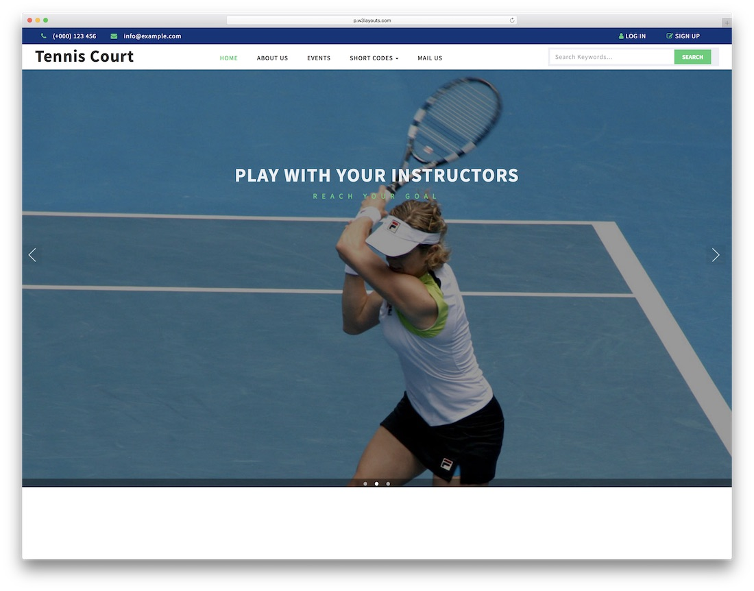 tennis court free fitness website template