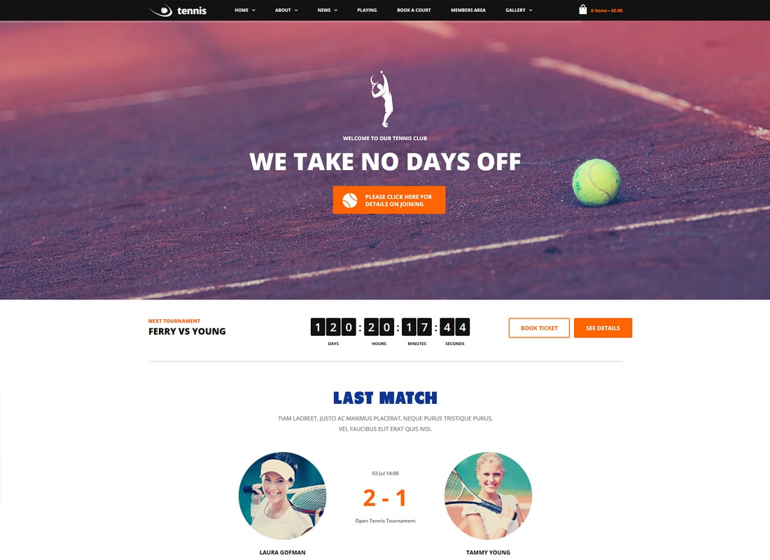 Tennis, Sport Club & Events WordPress Theme