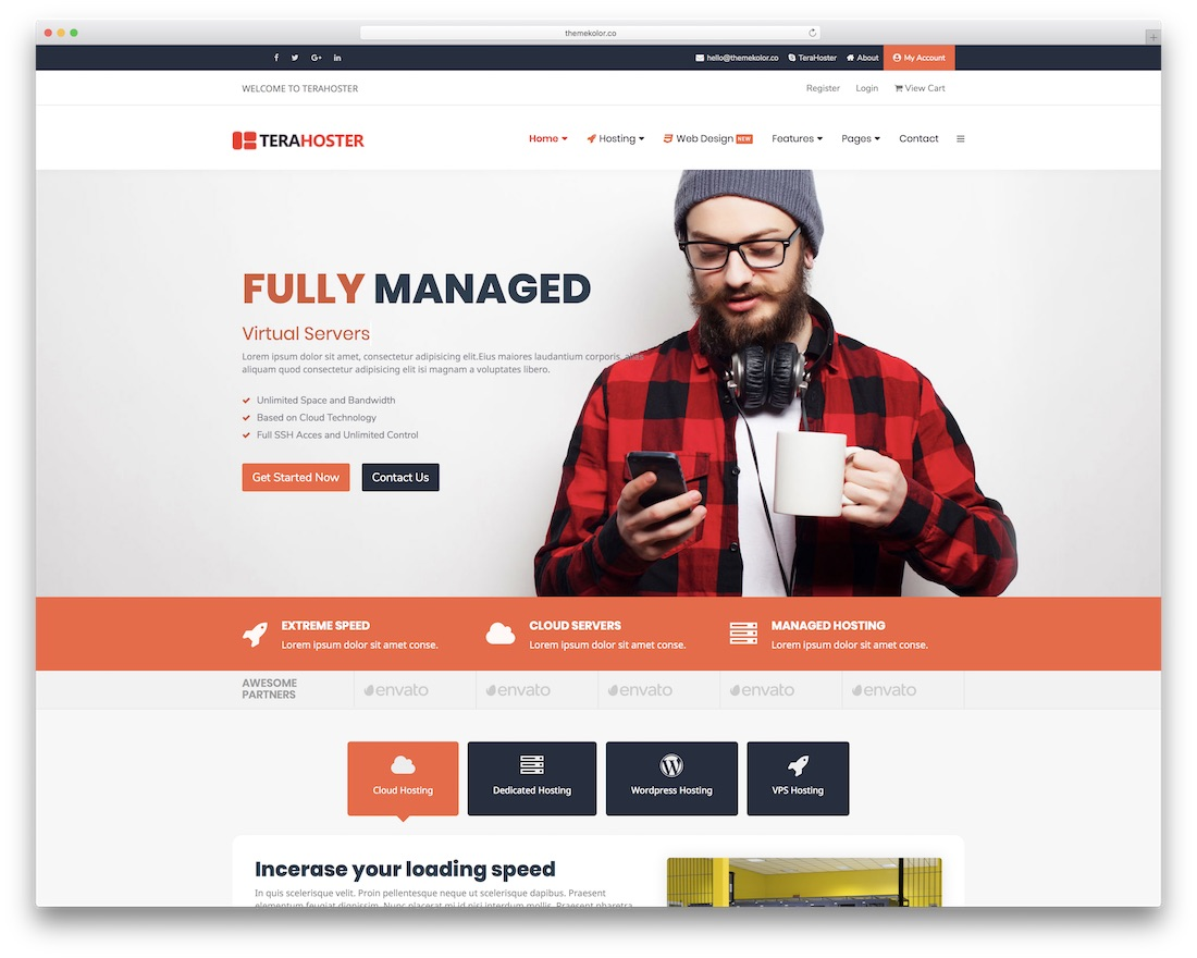 terahoster web hosting website template