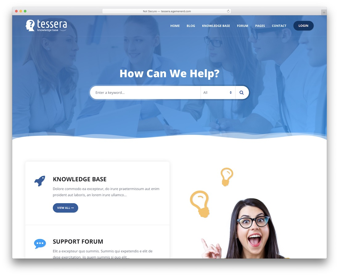 tessera wordpress knowledge base theme