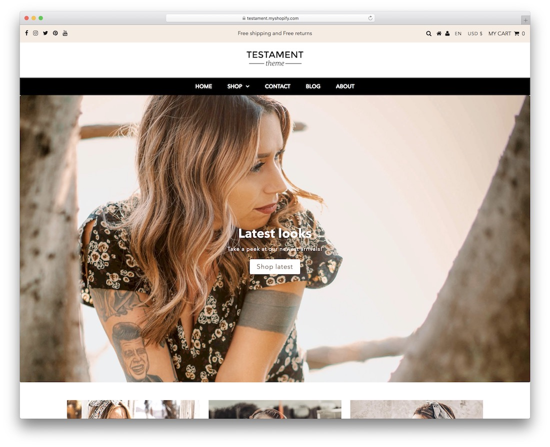 testament responsive shopify theme
