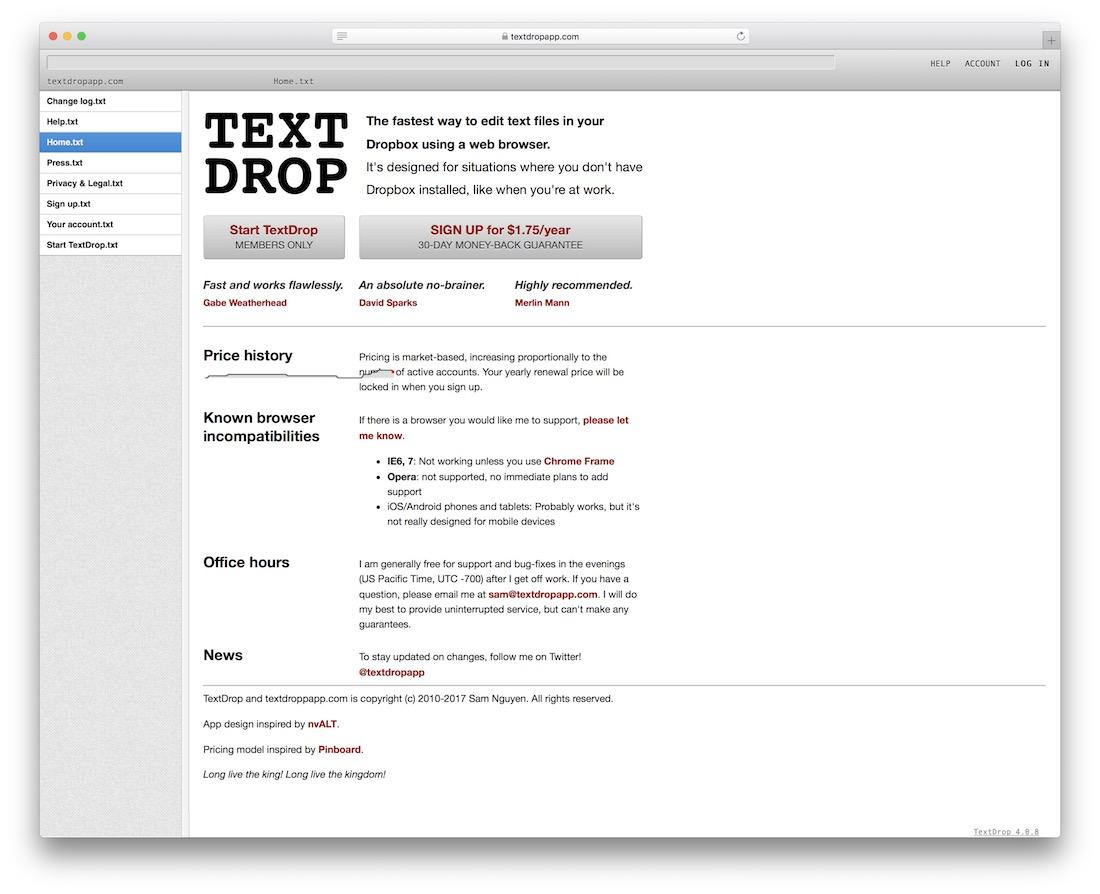 textdrop dropbox text editing tool