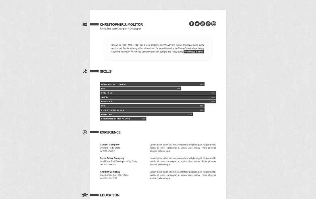 the applicant HTML resume cv website template