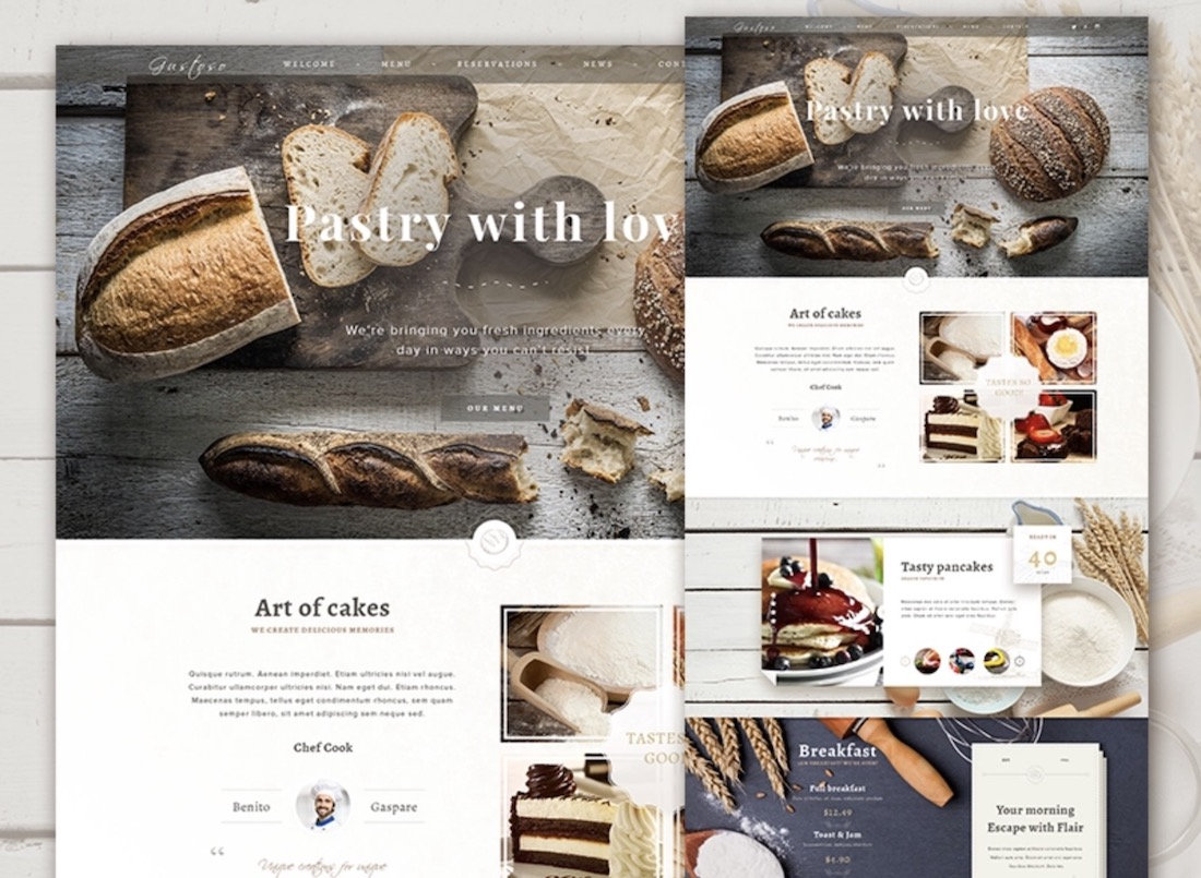 the bakery website psd template
