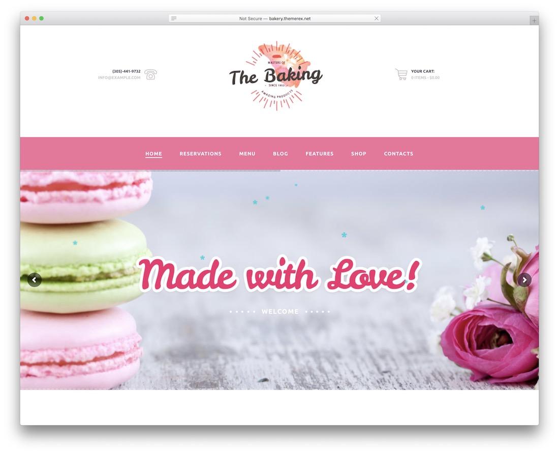the baking cake shops wordpress theme