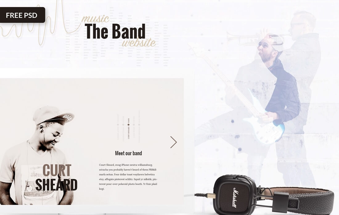 the band free music website template
