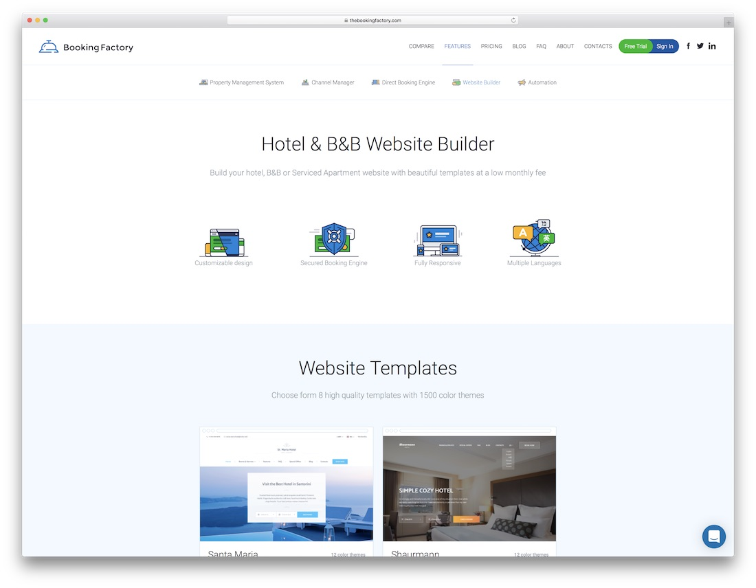the booking factory hotel website builder