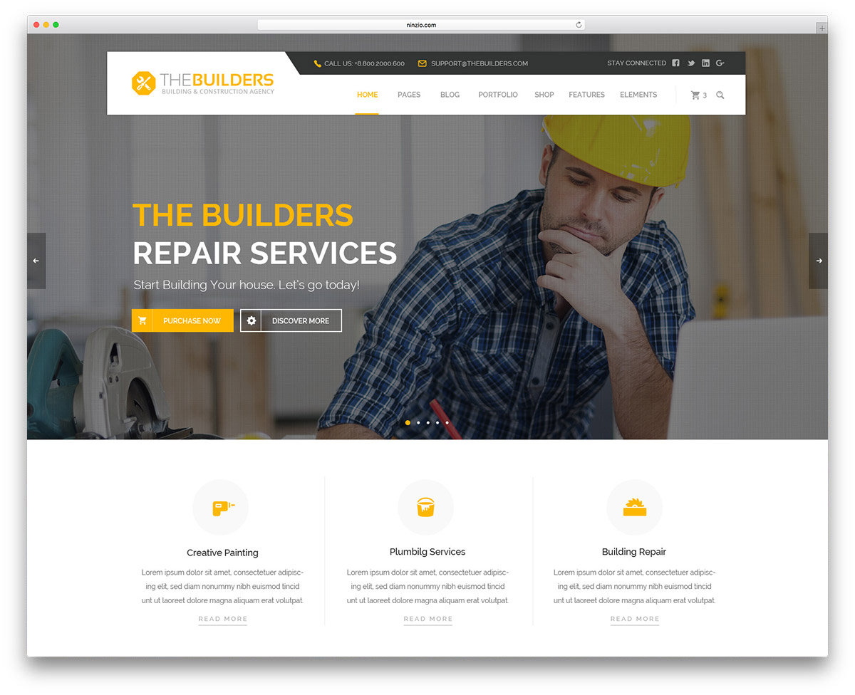Best Construction Company WordPress Themes Colorlib - Website template builder