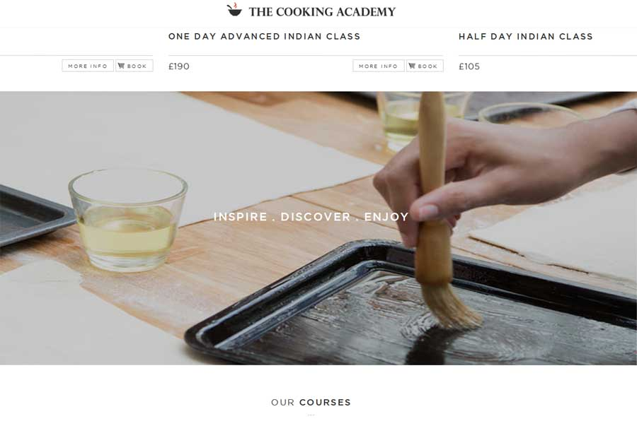 the cooking academy using parallax design