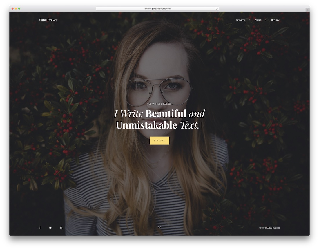 the copywriter professional website template