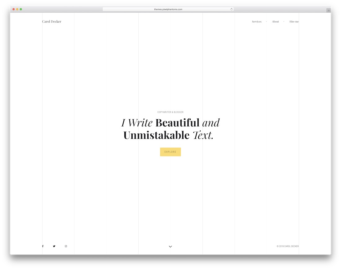 the copywriter simple bootstrap template