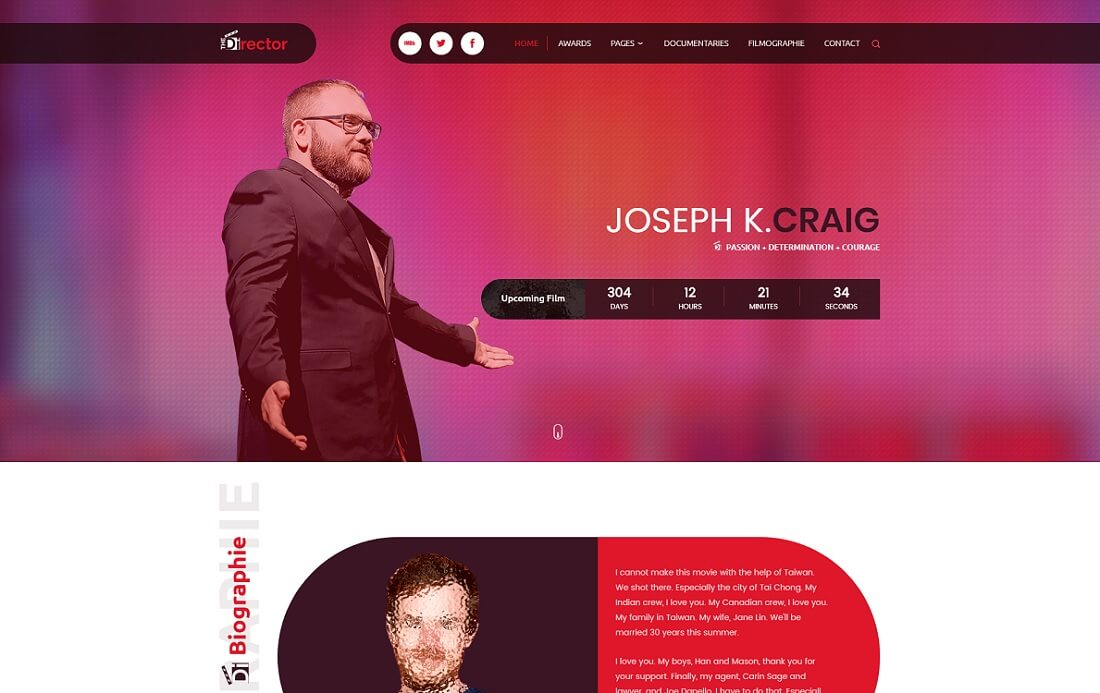 the director video website template