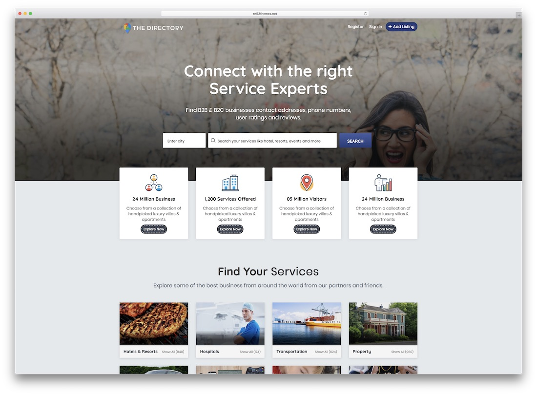 the directory website template