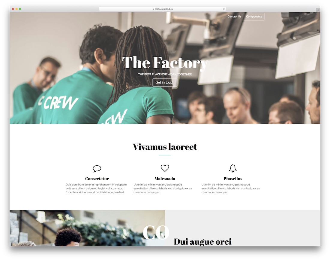 the factory free html5 website template