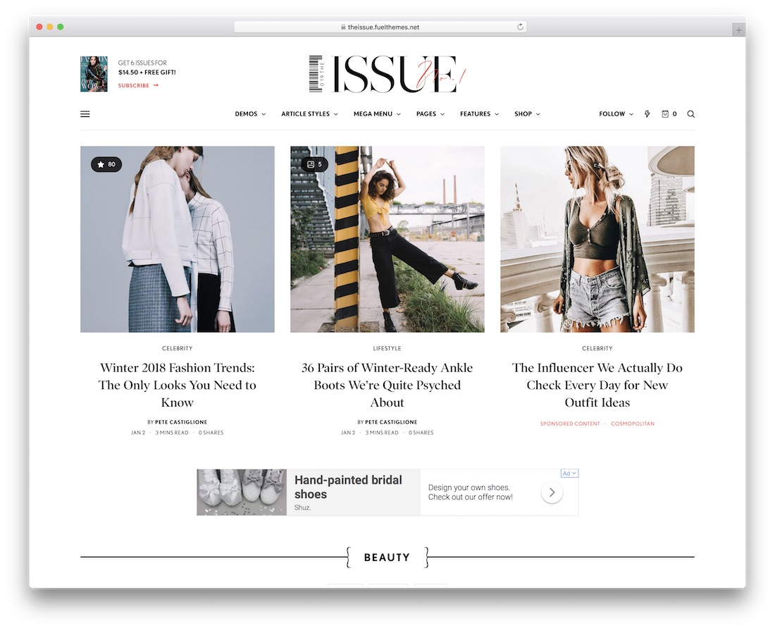 the issue fashion wordpress theme
