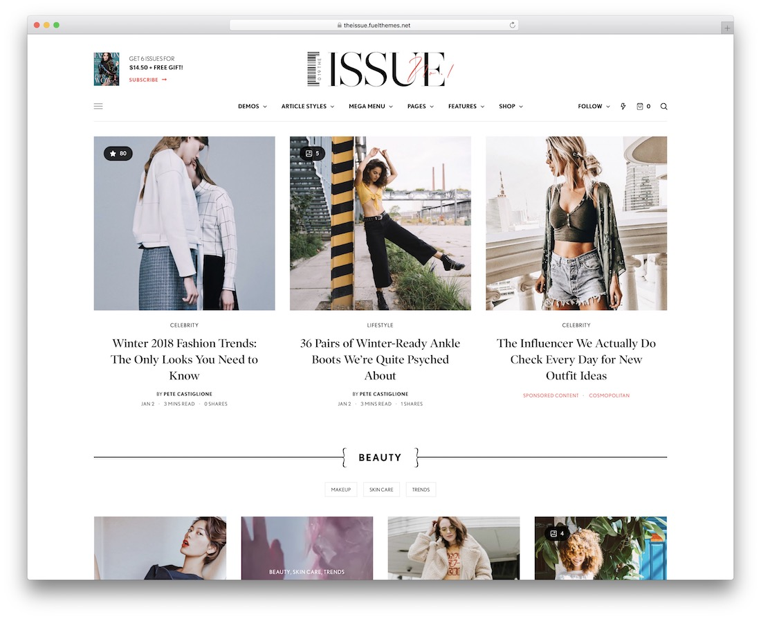 the issue website template