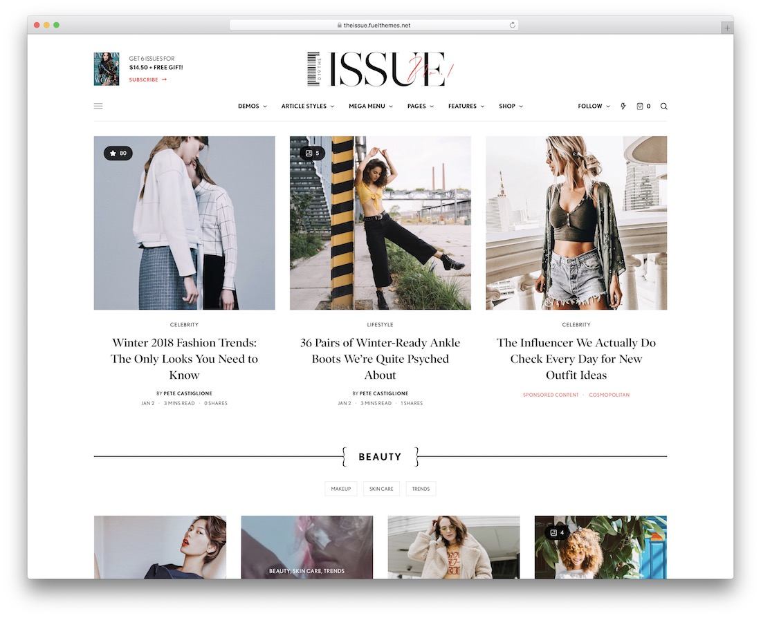 the issue writer website template