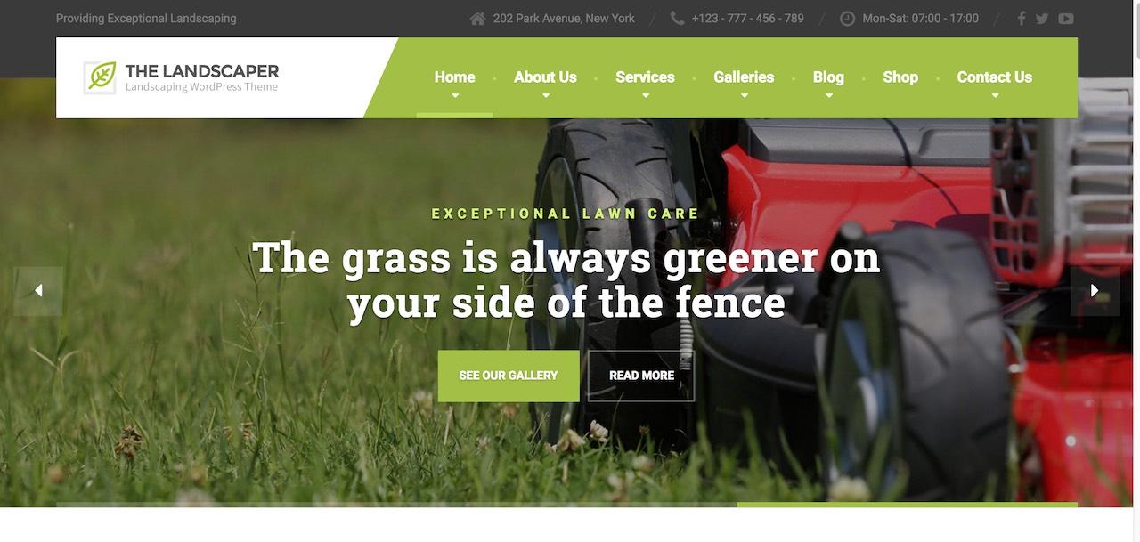 The Landscaper website design for WordPress
