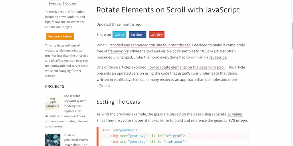 the new code – Rotate Elements on Scroll with JavaScript