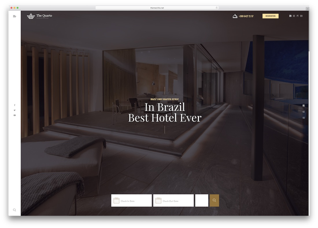 the quatro html5 hotel website template