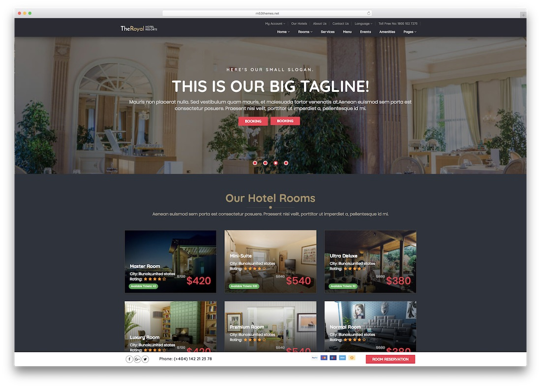 The Royal Html5 Hotel Website Template