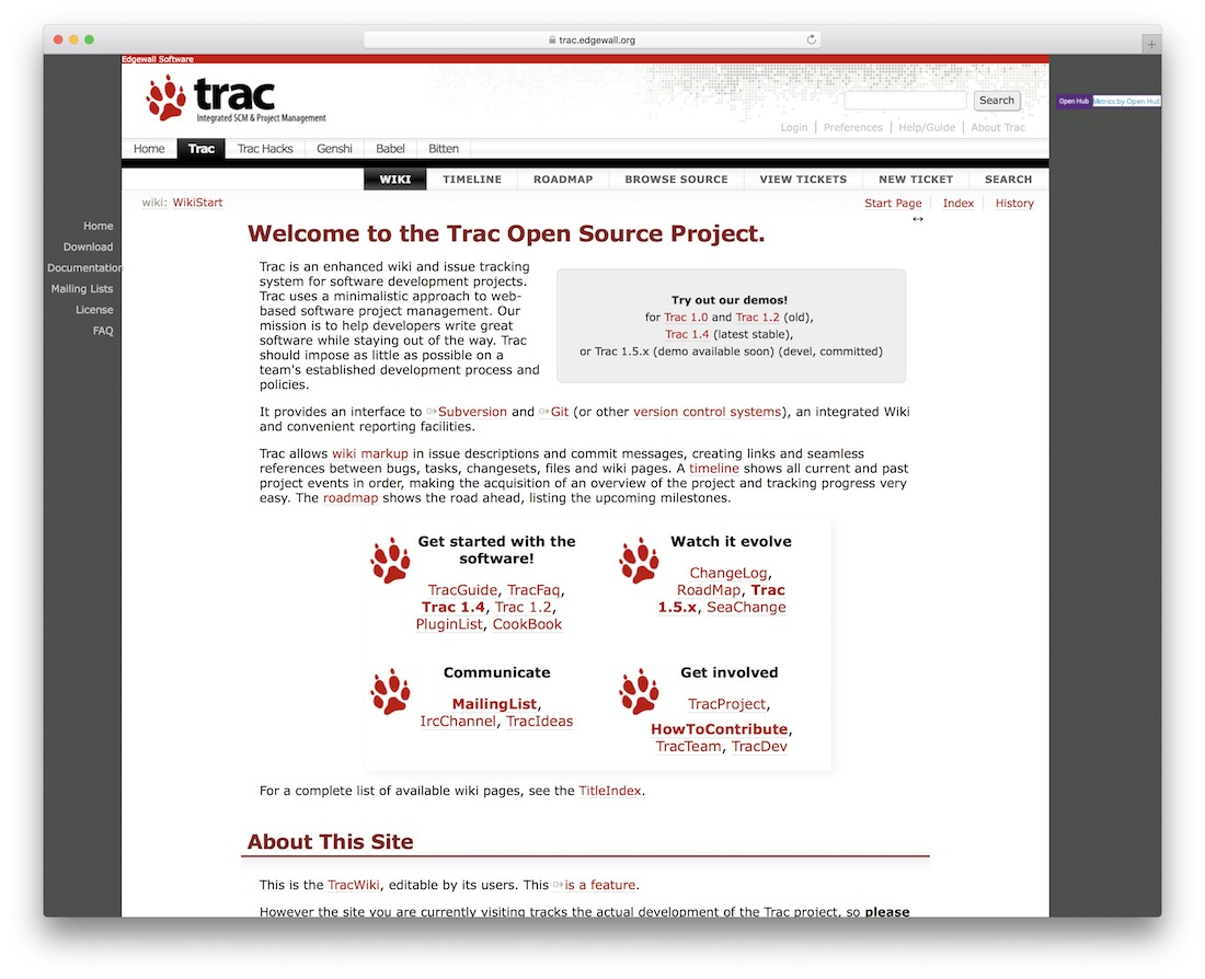 the trac project bug tracking tool