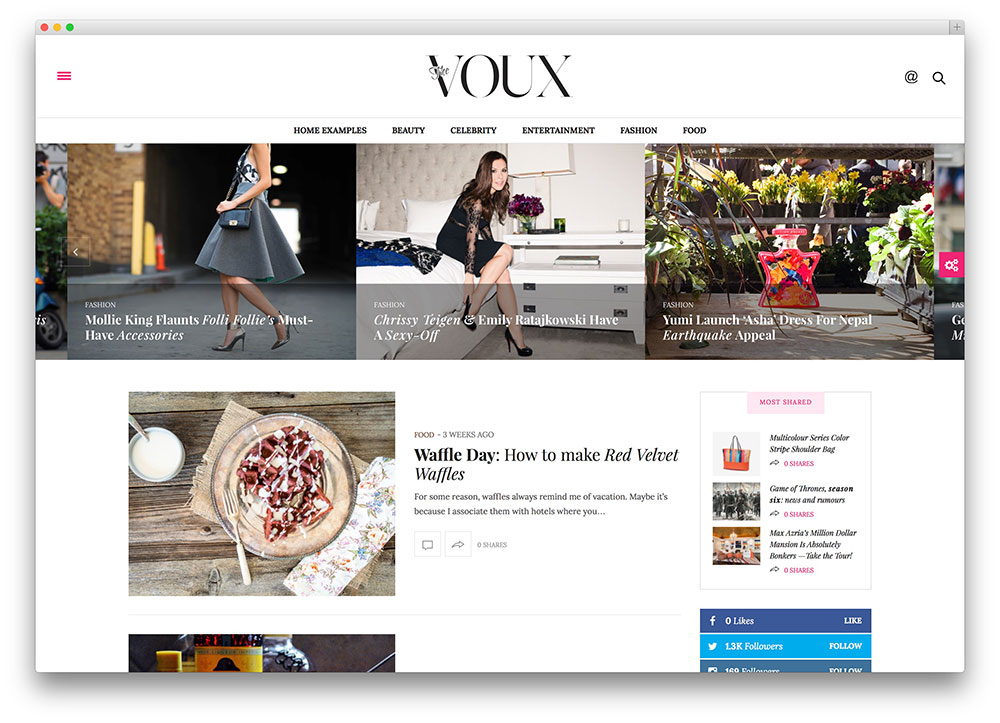 43 best fashion blog magazine wordpress themes 2018 for Create blog page template wordpress